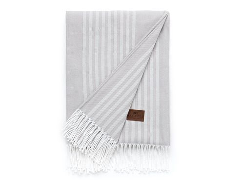 Decke *STRIPED COTTON THROW GREY* LEXINGTON