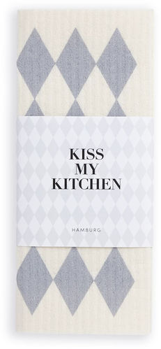 Schwammtuch *RAUTE WHITE GREY* Kiss my kitchen