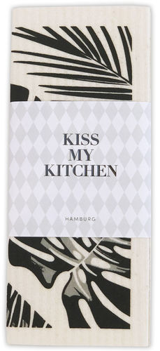 Schwammtuch *URBAN JUNGLE BLACK* Kiss my kitchen