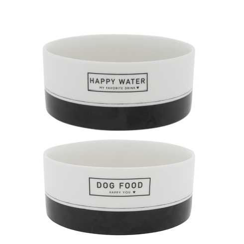 Napf 2er Set *DOG FOOD + WATER* Bastion Collections